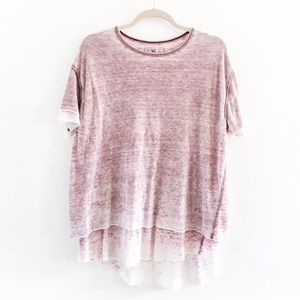 Free People Cloud 9 Wine Burnout Oversized Tee